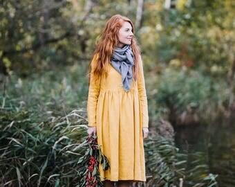 Plus Size Dress, Plus Size Clothing, Plus Size Maxi Dress, Oversize Dress, Yellow Dress, Loose Tunic Dress / Yellow Daffodil Smock LS