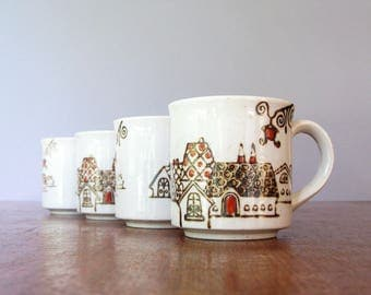 Four Vintage Japanese Mugs Charming Village Houses
