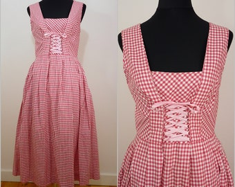 Bohemian VINTAGE Bavarian DIRNDL Strawberry Red White Gingham Picnic Folk Dress Uk 12 Fr 40 Oktoberfest /  Austrian / German/ Trachten