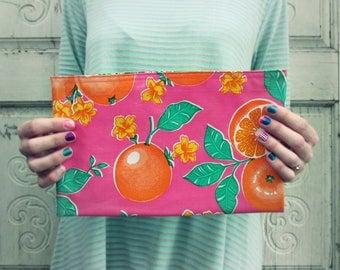 """Pink Oranges Oilcloth Bag, clutch or makeup bag, regular size 10.5"""" by 6.25"""""""