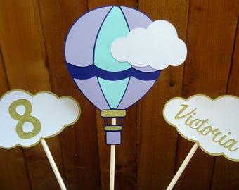 Hot Air Balloon Cake Topper, Hot Air Balloon Centerpieces, Birthday Decoration, Age Decoration