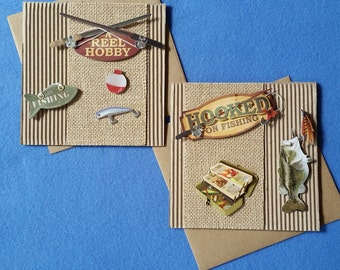 Hooked on Fishing, A Reel Hobby Handmade Cardboard Cards with burlap, fish, fishing pole, tackle box - square card for fisher