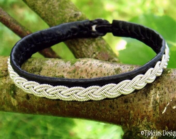 Handmade Unisex Leather and Pewter Viking Sami Bracelet LIDSKJALV Cuff in Black or 29 other Colors