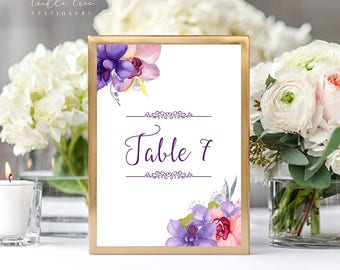Reception Table Numbers - Wild Orchids (Style 13746)