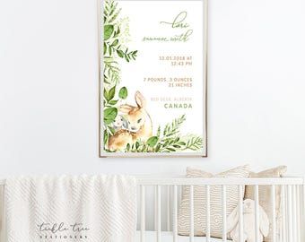 Art Print - Birth Poster, Woodland Friends (W00016)