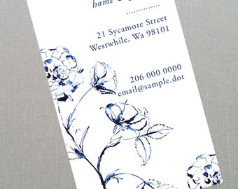 Dark Blue and White Rose Business Card - Set of 50