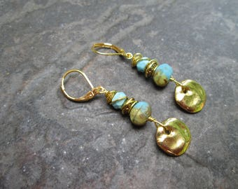 Wire Wrapped Sea Blue Turquoise Earrings with Gold Finish Leverback Earwires  and  Hammered Gold Disk Detail Great Gift for Her