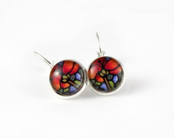Red Poppy Earrings - Scarlet Poppy Floral Jewelry - Red Flower Earrings - Silver Earrings, Art Nouveau Art - 12 mm round glass