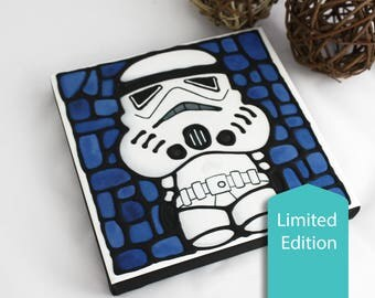 Stormtrooper Canvas Print - Limited Edition - Hand Painted Outlines - Boy Nursery Decor - Starwars Wall Art - Geeky Art - Sci-Fi Artwork