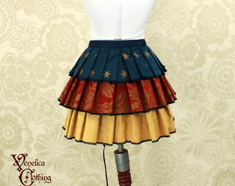 "Steampunk Wonder Woman Inspired Ruffle Bustle Overskirt - 3 Layer, Sz. S - Fits up to 40"" Waist/Upper Hip -- Ready to Ship"