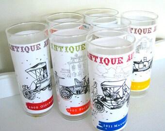 Vintage Glass Set - Antique Car - Seven - Drinkware - 60's - Retro Bar - Tumbler Set
