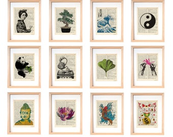 Japanese wall art set of 12 prints-Japanese dictionary prints-oriental art print-lotus flower print-buddha wall art-ginkgo print-DP233