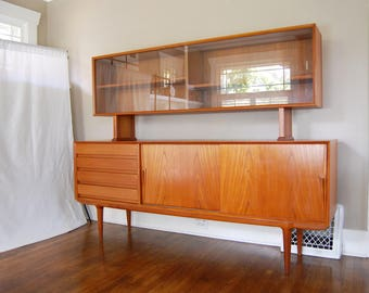 Danish Modern Teak Sideboard and China Hutch by Gunni Omann for Omann Jun Mobelfabrik