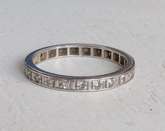 Antique Diamond Platinum Wedding Band - Engagement Ring - Eternity Band