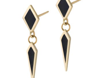 14K Gold Double Diamond Enamel Earrings - Gold Dangle earrings - Geometric Diamond Earring - Black Enamel Dangle Earrings - Unique Earrings