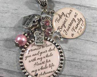 DAUGHTER of the Groom NECKLACE, STEPDAUGHTER Gift, Flower Girl, Jr Bridesmaid, Princess Jewelry, Daughter of Bride Gift, Wedding Keepsake