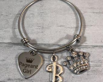 Pageant Girl Gift. Rhinestone Crown Charm. Beauty Pageant participant Gift. Little Girls Bangle Bracelet. Girls Initial Jewelry. Princess