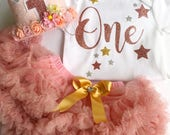 Baby Girls Rose Gold First Birthday Flower Crown, Bodysuit, Pettiskirt  Party Set 1st Birthday Party
