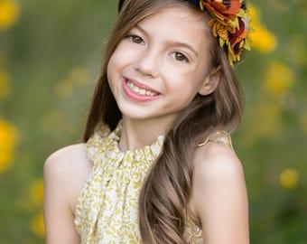 Fall Headband,Fall Floral Crown,Flower Halo,Felt Flower Headband,Flower Girl Headband,Photo Prop,Rust Brown Navy Mustard Yellow Pumpkin