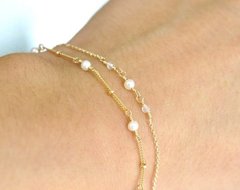 GoldFilled/Silver: Set of 2, Tiny Freshwater Pearl and Moonstone gold bracelet, Delicate gold bracelet, June Birthstone Jewelry