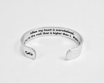 READY TO SHIP ~ When my heart is overwhelmed, lead me to the rock higher than I.  Psalm 61:2 - Encouragement Gift / Condolence Gift