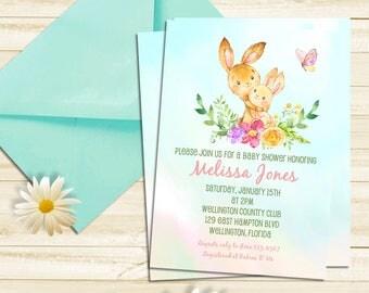 Bunny Rabbit Baby Shower Invitation -  Spring Invitation Woodland Baby Shower - Mother and Child - Gender Neural Invite - Printable  Invite