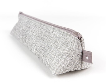 Silver Fabric Pencil Pouch Small Metallic Silver Pencil Case Accessory Storage Makeup Brush Holder Gift for Girls