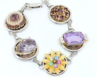 Rhinestone Bracelet, Pearl Bracelet, Recycled Bracelet, Pastel Wedding,Upcycled Recycled Repurposed Jewelry,Pastel Jewelry,Upcycled Bracelet