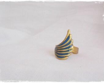 Nautical Brass Ring, Winged Brass Ring, Geometric Brass Ring, Polymer Clay Ring, Deep Blue Ring, Wing Brass Ring, Tribal Boho Brass Ring