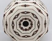 Mid-Century Modern Pouf Ottoman- Footstool- Floor Ottoman- Spaceship Ottoman- Black and Tan Ottoman- by beckyzimmdesign