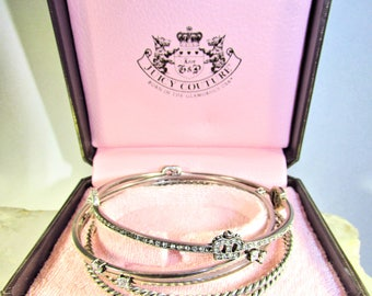Juicy Couture Silvertone Iconic Bangles, New In Box, Beautiful!
