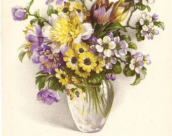 Yellow & Purple Flowers Bouquet in Glass Vase Antique French Postcard Chromolithograph Post Card, Azaleas Daisy Tulips, Chrysanthemums Mums