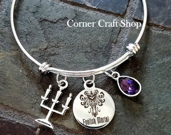 FOOLISH MORTAL Haunted Mansion Ride Wallpaper print Stainless Steel Charm  Silver Bangle Bracelet with Purple Teardrop Crystal Candelabra