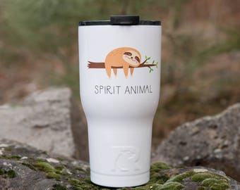 Personalized Tumbler Gift for Her// RTIC Custom Tumbler   // Gift for Mom  // Gift for friend// Sloth tumbler