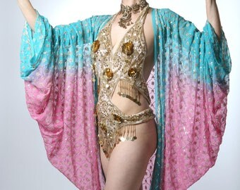 Pink and Turquoise Sequin Embroidered Shrug