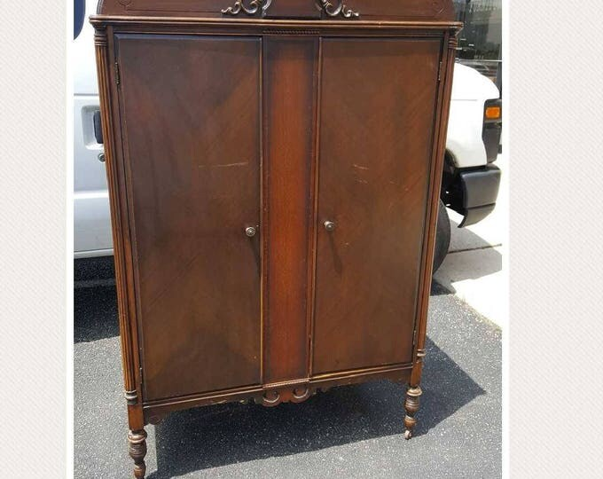 Vintage Wardrobe, Closet, Armoire PICK UP ONLY, painting inc., Farmhouse, rustic, shabby chic storage, custom painted bedroom dresser,