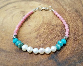 Freshwater Bracelet with Pink and Turquoise Beads