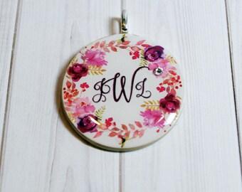 Monogram necklace - poker chip jewelry - monogram jewelry - monogram charm - personalized charm - gift for her - best friend jewelry