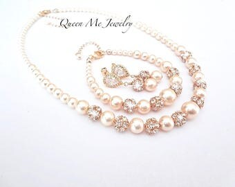 Gold pearl jewelry set ~ Swarovski pearl jewelry set~ 3 piece set pearl set, Necklace, Bracelet and earrings ~ Bridal Jewelry set ~ ISABELLA