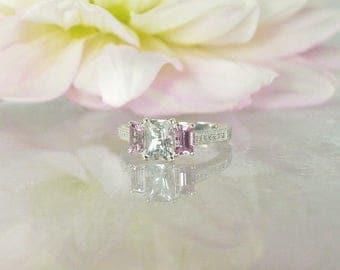Pink Sapphire,Pink Sapphire Ring, Pink Sapphire Engagement Ring, Three Stone Sapphire Ring, September Birthstone Ring, September Birthstone