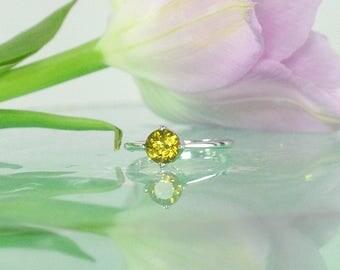 October Birthstone, Tourmaline Ring, Yellow Solitaire Ring, Tourmaline Solitaire Ring, Yellow Gemstone Ring, Gemstone Solitaire Ring. Ring