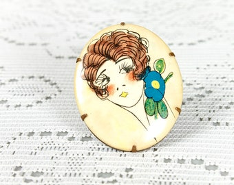 Vintage 1920s Celluloid Flapper Portrait Brooch