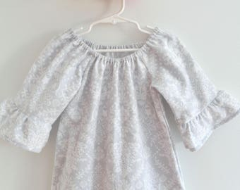 Toddler Girls Cotton Flannel Nightgown with 3/4 Bell Sleeves, Grey and White Rustic Boho, Size 3T READY to SHIP, Rose and Ruffle Original