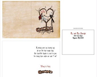 Jack & Sally Inspired Burton Style Thank You Cards - Folded Style