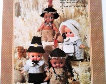 Thanksgiving Cupids Crochet Doll Patterns - Vintage Fibre Craft Crochet Patterns - 1991
