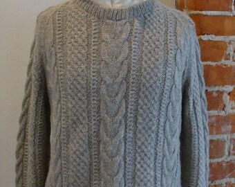 Vintage 100% Alpaca  Hand Knit Cable Sweater Size L