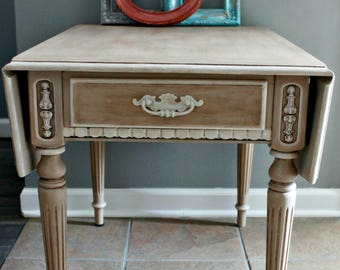 painted end table, painted furniture, refurbished furniture, Ethan Allen painted end table