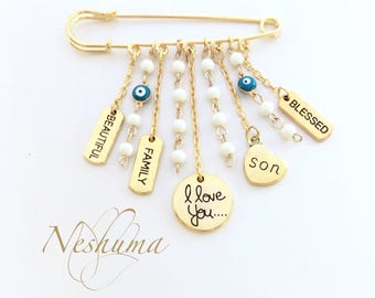 Gold Safety Pin with Charms, Baby Pin, Brooch Charm Pendants, Evil Eye Talisman, Stroller Pin