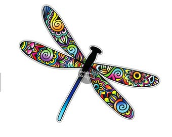 Dragonfly Sticker - Colorful Car Decal Laptop Decal Wall Art Summer Bumper Sticker Yeti Tumbler Decal Hippie Boho Flowers Insect