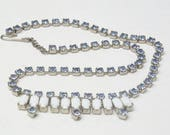 Vintage Montana Sky Blue Rhinestone Milk White Glass Stones Hollywood Glamour Mid Century Costume Jewelry Choker Necklace Gift For Her